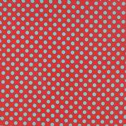 Moda Kiss Kiss by Abi Hall - 4029 - Mint Spots on Red - 35255 13 - Cotton Fabric